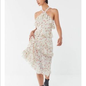 RUFFLE FRILLY MIDI DRESS URBAN OUTFITTERS 10 NWT